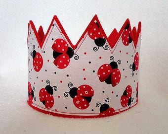 Ladybug Crown, Girls Ladybug Birthday Hat, Felt Birthday Crown, Girls Birhtday Crown, Adult Crown, Play Crown, Party Hats, Kids Crown