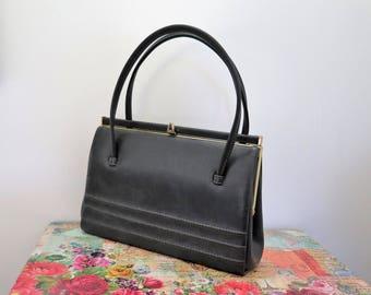 Vintage Dark Grey Faux Leather Kelly Handbag With Suede Interior