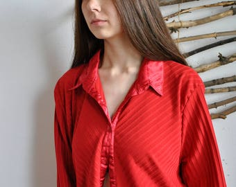 Long red blouse 1990s 1980s vintage womens casual oversize cloack summer shirt
