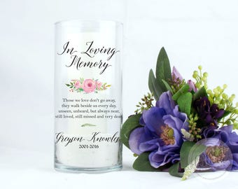 Memorial Candle Vase | Floating Candle in a Custom Glass Vase | Memory for Loved Ones | Wedding
