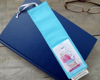 Aqua Bookmark, bookmark made from recycled fabric