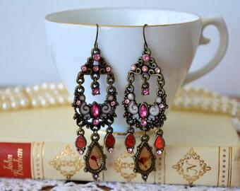 Chandelier Earrings, Crystal Earrings, Edwardian Earrings, Pink Earrings, Vintage Earrings, Dangle Earrings, Earrings, Gifts for Her