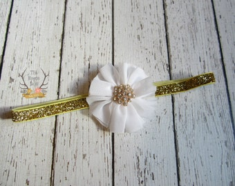 Gold Glitter & White Baby Headband - Rhinestone - Bling - Newborn Infant Baby Toddler Girls Wedding Flower Girl First Headband