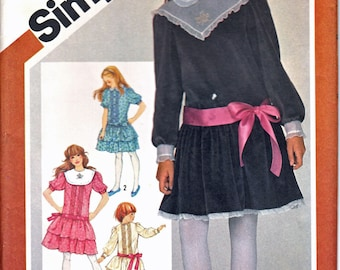 Simplicity 6224 Tween Girl's Drop Waist Dress, Front Tuck Dress, Gathered or Tiered Skirt Dress Sewing Pattern Size 10 Vintage 1980's UNCUT