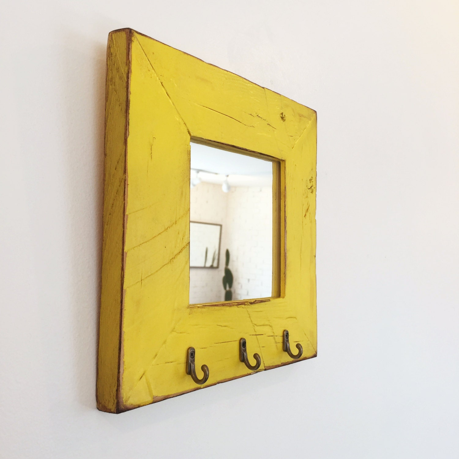 Entryway Mirror with Three Key Holder Hooks - Choose Your Size & Color - 2.25\