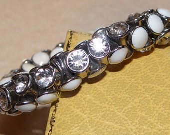 Vintage Clear Rhinestones and White Cabochon Stretch Bracelet 1970's like new condition