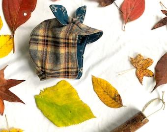 Reversible Boy Bonnet/Cap: Flannel & Cotton, Warm, Soft + Trendy!  Brown Plaid and Navy Blue Stars