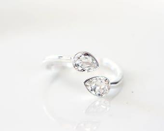 Crystal ring, Rings for women, Ring women sterling silver, Gift for her, Adjustable rings for women, Sterling silver ring Swarovski ring 878