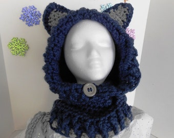 Navy Blue Woodlynn Wolf Hooded Cowl Crochet Hat by kams-store.com