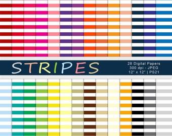 Stripes Digital Paper, Horizontal Stripes Paper, Rainbow Stripes, Striped Scrapbook Paper, Digital Backgrounds, Commercial Use, Item PS21