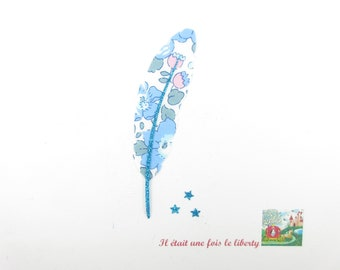 Applied fusible fabric feather liberty Betsy blue flex glitter patch iron on fusible feather pattern liberty coat