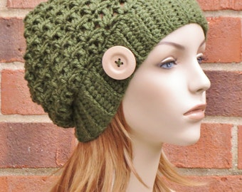 Womens Slouchy Hat Crochet Hat Slouchy Beanie Hat Womens Winter Hat Baggy Beanie Hat Fall Accessories  // THE SAGE // Olive Green
