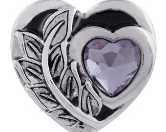 Heart snap charm, 20 mm lavender snap button works with Gingersnaps jewelry. Great Mother's Day gift or gift for her.