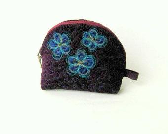 Pouch cosmetic purple zipper applique blue velvet
