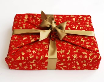 Reusable Gift Wrapping, Red with Gold Christmas Motif Print Fabric with Gold Ribbons Sewn on