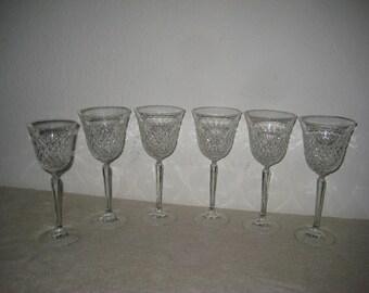 Wine glasses, vintage, set of six (6), cut glass
