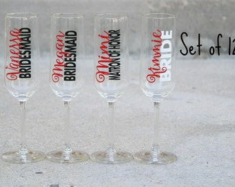 12 - Personalized Champagne flute, Bridesmaid gift, Matron of honor, wedding party, Bridal Party, Bridesmaid, Wedding, celebrate