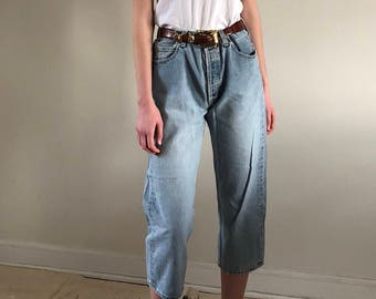 80s gap jeans / vintage high waist button fly jeans / baggy cropped jeans / faded mom jeans