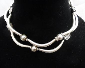 Double-Strand Silvertone Necklace/4-Strand Bracelet