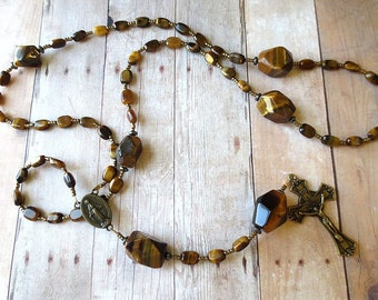 Tiger Eye Rosary with Bronze Crucifix and Miraculous Medal Center