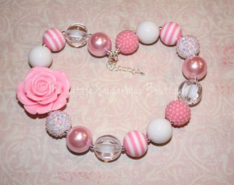 Light Pink and White Chunky Necklace-Pretty Poppies Pink-M2M Caroline Kate-M2M Bourgeois Bebe-Bubblegum Necklace-Baby-Toddler-Girls-Women