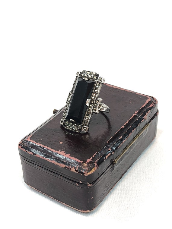 Uncas Sterling Silver Onyx Marcasite Ring, Art Deco Rectangular Geometric Design, Tall Knuckle Ring, Size 6 3/4, Antique Vintage Jewelry