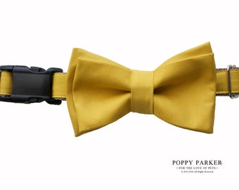 Layered Dog Bow Tie - Mustard Yellow - Optional Matching Collar and Leash