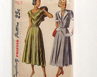 Vintage 40's Simplicity One-Piece Dress & Bolero w/Detachable Collar and Cuffs Sewing Pattern #2410 - Size Bust 34 (Waist 28)
