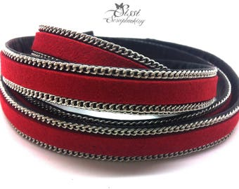 20cm cord flat faux leather suede red chain BRACELET creating 10 x 2.8 mm