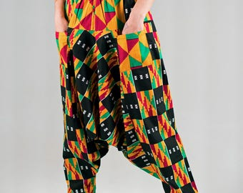 Drop crotch baggy harem African print pants boho hippie festival