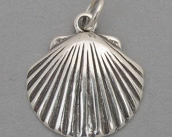 Sterling Silver 925 Charm Pendant SCALLOP CLAM SEASHELL Nautical 2387