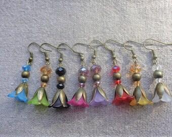 Polished Flower Earrings on bronze glass beads