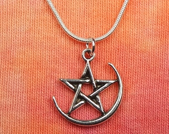 """Pentagram in Waxing Crescent Moon Necklace, pick 16-36"""" snake chain Pentacle Sliver Moon Manifestation Moon Wicca Pagan Celestial pendant"""