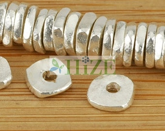 HIZE SB450 Thai Karen Hill Tribe Silver Square Chip Disc Ring Spacer Beads 5mm (45)