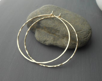 Large Hammered Gold Filled Wire Hoop Earrings