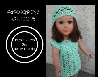 18 inch doll crocheted doll dress dress 2 doll hats doll clothes doll clothing Ready to ship