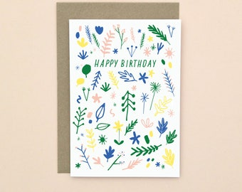Happy Birthday Card A6 Illustrated