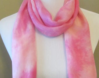 Hand dyed pink and white silk and wool scarf -