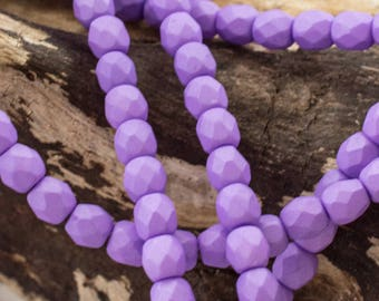 4mm Saturated Purple Fire Polished Czech Glass - 4mm Firepolished Faceted Round Beads - 4307 - 50 beads