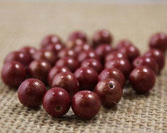 Vintage Frosted 10mm Red Wood Beads (43 Pieces)