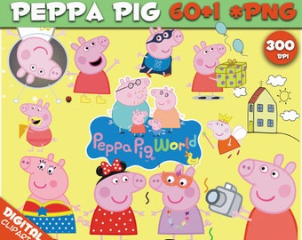Peppa Pig 60+1 PNG clipart Images digital peppa pig download Peppa Pig 300 dpi transparent background Scrapbook Peppa Pig party Images