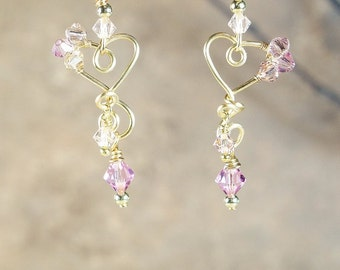 Earrings, Wire Wrapped Metal Heart Earrings with Two Shades of Pink Swarovski Crystals on Nichol Free Ear Wires
