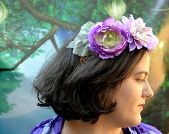 Purple Flower Crown, Flower Crown, Fairy Crown, Lavender Crown, Cosplay Headpiece, Cosplay Crown, Renaissance Crown, Renaissance Headpiece