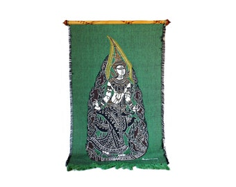 1960's Thai Wall Tapestry, Goddess Tara The Mother of Liberation, Buddhist Deity, Emerald Green Tapestry, Circa 1960's by APK Textiles