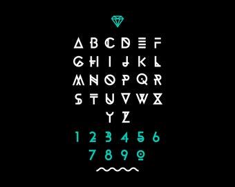 Hipster font, typeface, typography, typewriter, poster, type, text, sans serif on black background