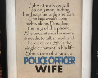 Unframed Police Wife Canvas Print Rustic Home Decor Thin Blue Line LEO Wife Law Enforcement Wife Police Officer Print