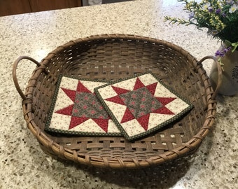 Star Potholders / Kitchen Pot Holders / Quilted Potholders / Country Decor / Handmade / Item #2356