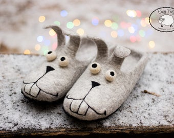 Funny gifts for her easter bunny felted slippers cozy mom gift, womens slippers rabbit Wool slippers Bunny slippers felt slippers
