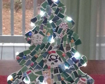 Mosaic Christmas Tree with lights