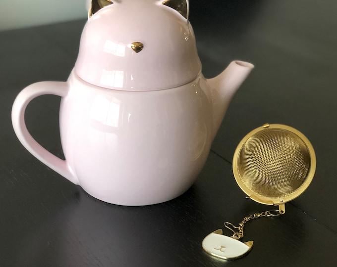 Pink Cat Tea Pot with Tea Cup